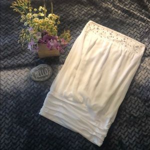 Dazzling white beaded tube top w/ruched band